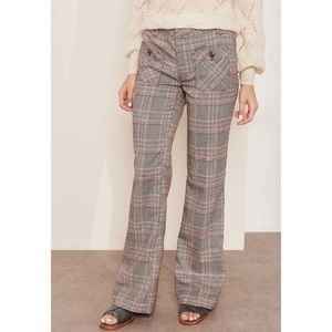 Free People   Gray Plaid Wide Leg Casual Trousers